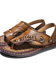 cheap -Men's Cowhide Summer Comfort Sandals Light Brown / Dark Brown