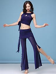 baratos -Dança do Ventre Roupa Mulheres Treino Modal Combinação / Faixa / Com Fenda Sem Manga Caído Blusa / Calças