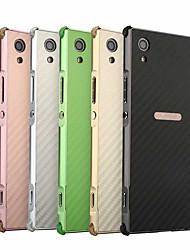 Недорогие -Кейс для Назначение Sony Xperia XA1 Plus Защита от удара / Покрытие Кейс на заднюю панель Однотонный Твердый Углеродное волокно / Металл для Xperia XA1 Plus