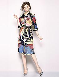 baratos -Mulheres Boho / Moda de Rua Reto Vestido - Estampado, Floral Médio