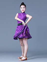 cheap -Latin Dance Dresses Girls' Training / Performance POLY / Lace Lace / Sashes / Ribbons Sleeveless Natural Dress / Waist Accessory