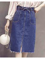 preiswerte -Damen Ausgehen A-Linie Röcke - Solide Hohe Taillenlinie