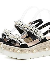 abordables -Mujer Zapatos PU Verano Confort Sandalias Media plataforma Punta abierta Perla / Purpurina Negro / Rosa / Fiesta y Noche