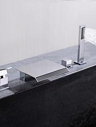Недорогие -Смеситель для ванны - Современный Хром Настольная установка Керамический клапан Bath Shower Mixer Taps / Одной ручкой четыре отверстия