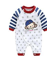 baratos -bebê Para Meninos Estampado Manga Longa Peça Única