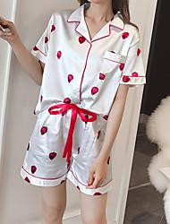 povoljno -Žene Četvrtasti izrez Odijelo Pidžama Geometrijski oblici