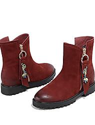 Недорогие -Жен. Обувь Кожа Зима Удобная обувь Ботинки На низком каблуке Черный / Винный