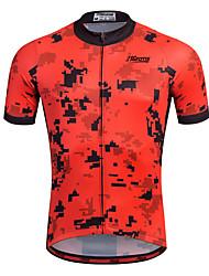 baratos -21Grams Homens Manga Curta Camisa para Ciclismo - Vermelho Moto Camisa / Roupas Para Esporte, Secagem Rápida, Respirável, Tiras Refletoras / Com Stretch / Redutor de Suor