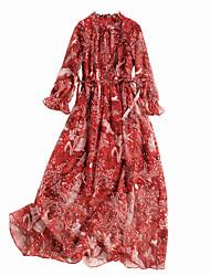 abordables -Femme Basique Mousseline de Soie Robe - Lacet / Imprimé, Fleur Maxi