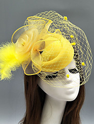 cheap -Feather / Net Fascinators / Hats / Headdress with Feather / Floral / Flower 1pc Wedding / Special Occasion Headpiece