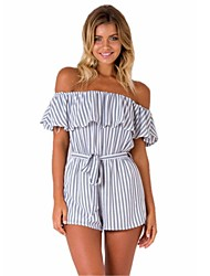 cheap -women's going out / beach cotton romper - striped wide leg boat neck
