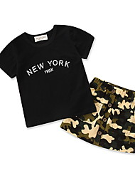 cheap -Baby Girls' Solid Colored / Print Short Sleeve Clothing Set