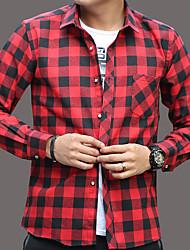 お買い得  -男性用 フロントクロス シャツ ベーシック カラーブロック / チェック ブラック&グレー