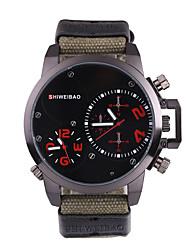 baratos -SHI WEI BAO Homens Relógio Esportivo / Relógio Militar Japanês Dois Fusos Horários Tecido Banda Casual / Fashion Preta / Verde Escuro / SSUO 377