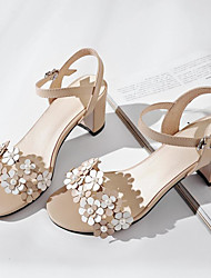 cheap -Women's Shoes Nappa Leather Summer Comfort Sandals Chunky Heel Peep Toe Pearl White / Black / Almond