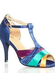 baratos -Mulheres Sapatos de Dança Latina Cetim Sandália Salto Alto Magro Personalizável Sapatos de Dança Arco-íris