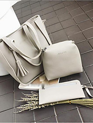 baratos -Mulheres Bolsas PU Conjuntos de saco 3 Pcs Purse Set Mocassim Cinzento Escuro / Cinzento Claro / Marron
