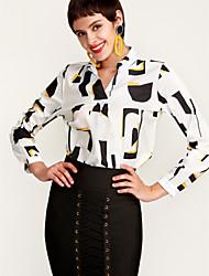 Недорогие -Жен. Офис Блуза V-образный вырез Уличный стиль Контрастных цветов
