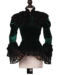 cheap -Cosplay Lolita / Rococo Costume Women's Blouse / Shirt / Cloak Green / Black Vintage Cosplay Pleuche Long Sleeve Puff Sleeve