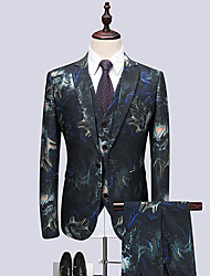 cheap -Men's Party Club Business Casual Slim Suits-Floral Notch Lapel / Long Sleeve