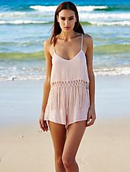 Недорогие -Жен. Пляж V-образный вырез Розовый Широкие Комбинезоны, Однотонный M L XL Хлопок Без рукавов