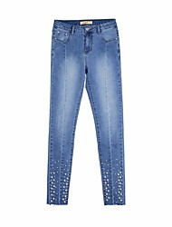 cheap -Women's Cotton Slim Jeans Pants - Solid Colored / Going out