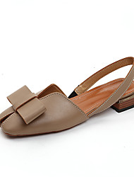 baratos -Mulheres Sapatos Couro Ecológico Verão Conforto Sandálias Caminhada Salto Baixo Ponta quadrada Laço Bege / Castanho Claro