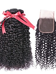 cheap -Brazilian Hair Curly Natural Color Hair Weaves / Human Hair Extensions / Hair Weft with Closure 3 Bundles With  Closure 8-22 inch Human Hair Weaves 4x4 Closure Best Quality / Hot Sale / For Black