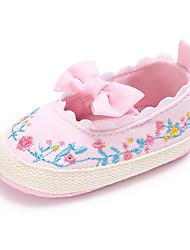 preiswerte -Mädchen Schuhe Leinwand Frühling & Herbst Komfort / Lauflern / Kinderbett Schuhe Flache Schuhe Schleife / Blume / Elastisch für Baby Weiß / Schwarz / Rosa / Hochzeit / Party & Festivität