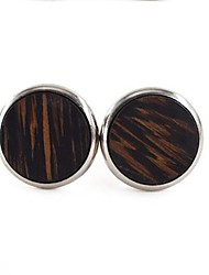cheap -Circle Silver Cufflinks Wooden / Alloy Dresswear Men's Costume Jewelry For Daily