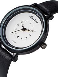 baratos -Mulheres Relógio de Pulso Relógio Casual / Adorável PU Banda Fashion / Elegante Preta / Branco / Marrom / Aço Inoxidável