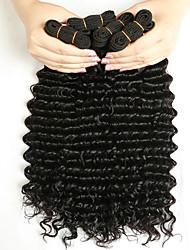baratos -3 pacotes Cabelo Peruviano Deep Curly Cabelo Humano Presentes / Peça para Cabeça / Extensor 8-28 polegada Preta Côr Natural Tramas de cabelo humano Fabrico à Máquina Tecido / Natural / Melhor