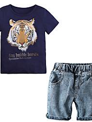 Недорогие -Дети (1-4 лет) Мальчики Винтаж Активный Повседневные Школа Тигр С принтом С прорезями С короткими рукавами Обычный Обычная Хлопок Набор одежды Синий