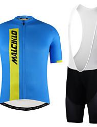 cheap -Malciklo Men's Cycling Jersey with Bib Shorts - Blue / White / Bule / Black Bike Bib Shorts / Jersey / Clothing Suit, Quick Dry, Anatomic Design, Reflective Strips Lycra / YKK Zipper