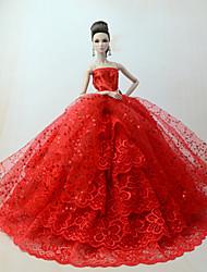 abordables -Robes Robe Pour Poupée Barbie Rouge Polyester / Coton / Dentelle Robe Pour Fille de Jouets DIY