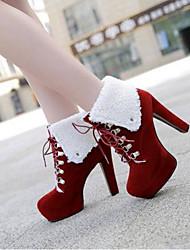 baratos -Mulheres Sapatos Camurça / Pele Napa Primavera Verão Conforto / Chanel Saltos Salto Agulha Dedo Fechado Botas Curtas / Ankle Roxo / Vermelho / Amêndoa
