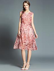 お買い得  -女性用 ストリートファッション / モダンシティ シフォン ドレス - プリント, ペーズリー 膝丈