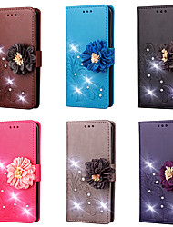 cheap -Case For LG V30 / V20 Wallet / Card Holder / Rhinestone Full Body Cases Solid Colored / Flower Hard PU Leather for LG V30 / LG V20 / LG L70