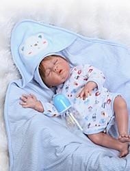 Недорогие -NPKCOLLECTION Куклы реборн Мальчики 22 дюймовый Полный силикон для тела Винил Детские Мальчики / Девочки Игрушки Подарок