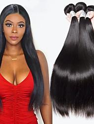 Недорогие -4 Связки Индийские волосы Прямой Натуральные волосы Человека ткет Волосы / Удлинитель 8-28 дюймовый Черный Естественный цвет Ткет человеческих волос Машинное плетение