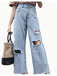 billige -Dame Løstsiddende Jeans Bukser Ensfarvet