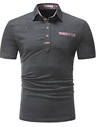 cheap -Men's Slim Polo - Houndstooth Shirt Collar / Please choose one size larger according to your normal size. / Short Sleeve