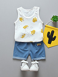 cheap -Baby Boys' Black & White Solid Colored / Geometric Sleeveless Clothing Set