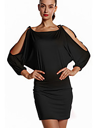 cheap -Women's Basic Batwing Sleeve Bodycon Dress - Solid Colored Lace up / Patchwork