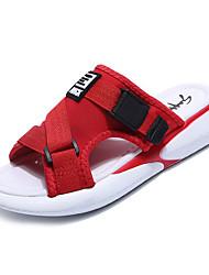 baratos -Mulheres Sapatos Lona / Couro Ecológico Verão Chanel Chinelos e flip-flops Sem Salto Branco / Preto / Vermelho