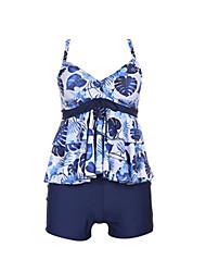 baratos -Mulheres Com Alças Boho Triângulo Tanquini - Floral, Estampado Perna do Menino Azul e Branco / Folha tropical