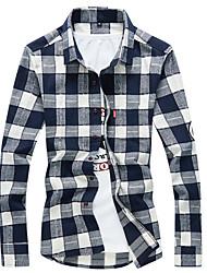 cheap -Men's Cotton Shirt - Striped / Long Sleeve