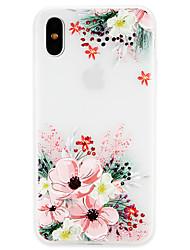 Недорогие -Кейс для Назначение Apple iPhone X / iPhone 8 Ультратонкий Кейс на заднюю панель Цветы Мягкий ТПУ для iPhone X / iPhone 8 Pluss / iPhone 8