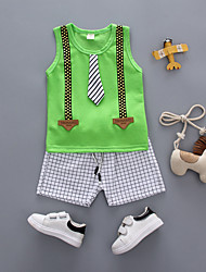 cheap -Baby Boys' Black & White Solid Colored Short Sleeve Clothing Set