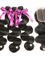 baratos -3 pacotes com fechamento Cabelo Brasileiro Ondulado Cabelo Humano Cabelo Humano Ondulado / Extensões de Cabelo Natural / Trama do cabelo com Encerramento 8-22 polegada Tramas de cabelo humano 4x4